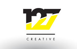 127 Black and Yellow Number Logo Design. 127 Black and Yellow Number Logo Design cut in half Stock Photos
