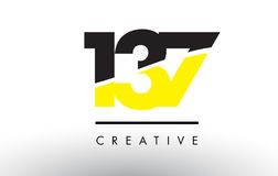 137 Black and Yellow Number Logo Design. Royalty Free Stock Photo