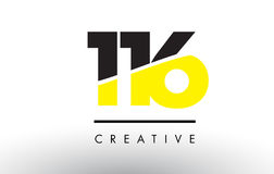 116 Black and Yellow Number Logo Design. 116 Black and Yellow Number Logo Design cut in half Royalty Free Stock Image