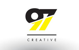 97 Black and Yellow Number Logo Design. 97 Black and Yellow Number Logo Design cut in half Royalty Free Stock Photography