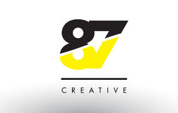 87 Black and Yellow Number Logo Design. Stock Photos