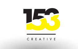 153 Black and Yellow Number Logo Design. 153 Black and Yellow Number Logo Design cut in half Royalty Free Stock Photo