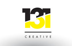 131 Black and Yellow Number Logo Design. 131 Black and Yellow Number Logo Design cut in half Royalty Free Stock Photography