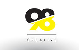 98 Black and Yellow Number Logo Design. Royalty Free Stock Photos
