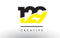 129 Black and Yellow Number Logo Design. 129 Black and Yellow Number Logo Design cut in half Royalty Free Stock Images