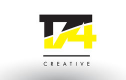 174 Black and Yellow Number Logo Design. 174 Black and Yellow Number Logo Design cut in half Stock Photo