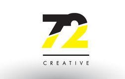 72 Black and Yellow Number Logo Design. 72 Black and Yellow Number Logo Design cut in half Stock Image