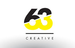 63 Black and Yellow Number Logo Design. 63 Black and Yellow Number Logo Design cut in half Royalty Free Stock Photo