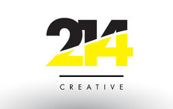 214 Black and Yellow Number Logo Design. 214 Black and Yellow Number Logo Design cut in half Royalty Free Stock Photos