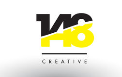 148 Black and Yellow Number Logo Design. 148 Black and Yellow Number Logo Design cut in half Royalty Free Stock Images