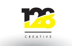 128 Black and Yellow Number Logo Design. 128 Black and Yellow Number Logo Design cut in half Stock Image