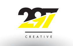 297 Black and Yellow Number Logo Design. 297 Black and Yellow Number Logo Design cut in half Stock Photography