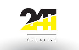 241 Black and Yellow Number Logo Design. 241 Black and Yellow Number Logo Design cut in half Stock Photos