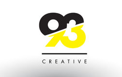93 Black and Yellow Number Logo Design. 93 Black and Yellow Number Logo Design cut in half Stock Images