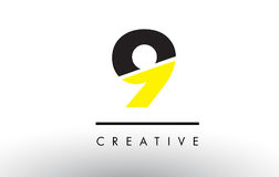 9 Black and Yellow Number Logo Design. 9 Black and Yellow Number Logo Design cut in half Royalty Free Stock Image