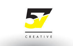 57 Black and Yellow Number Logo Design. 57 Black and Yellow Number Logo Design cut in half Royalty Free Stock Photos