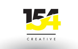 154 Black and Yellow Number Logo Design. 154 Black and Yellow Number Logo Design cut in half Stock Photography