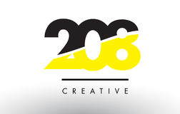 208 Black and Yellow Number Logo Design. 208 Black and Yellow Number Logo Design cut in half Stock Photos