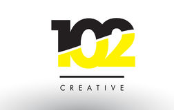 102 Black and Yellow Number Logo Design. 102 Black and Yellow Number Logo Design cut in half Stock Images