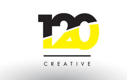 120 Black and Yellow Number Logo Design. 120 Black and Yellow Number Logo Design cut in half Royalty Free Stock Photography