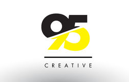 95 Black and Yellow Number Logo Design. 95 Black and Yellow Number Logo Design cut in half Royalty Free Stock Photos
