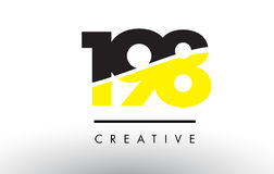 198 Black and Yellow Number Logo Design. 198 Black and Yellow Number Logo Design cut in half Royalty Free Stock Images