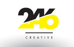 246 Black and Yellow Number Logo Design. 246 Black and Yellow Number Logo Design cut in half Stock Photo