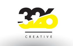 326 Black and Yellow Number Logo Design. 326 Black and Yellow Number Logo Design cut in half Stock Photos