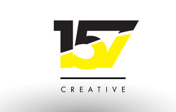 157 Black and Yellow Number Logo Design. 157 Black and Yellow Number Logo Design cut in half Stock Images