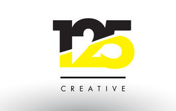 125 Black and Yellow Number Logo Design. 125 Black and Yellow Number Logo Design cut in half Royalty Free Stock Image