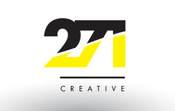 271 Black and Yellow Number Logo Design. 271 Black and Yellow Number Logo Design cut in half Royalty Free Stock Photography