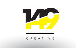 149 Black and Yellow Number Logo Design. 149 Black and Yellow Number Logo Design cut in half Royalty Free Stock Photos
