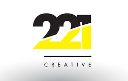 221 Black and Yellow Number Logo Design. 221 Black and Yellow Number Logo Design cut in half Stock Photos