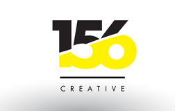 156 Black and Yellow Number Logo Design. 156 Black and Yellow Number Logo Design cut in half Stock Images