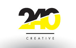 240 Black and Yellow Number Logo Design. 240 Black and Yellow Number Logo Design cut in half Royalty Free Stock Image