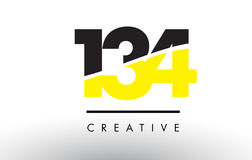 134 Black and Yellow Number Logo Design. Royalty Free Stock Photos