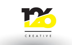 126 Black and Yellow Number Logo Design. 126 Black and Yellow Number Logo Design cut in half Royalty Free Stock Images