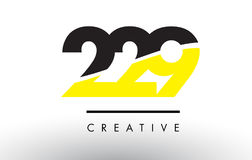 229 Black and Yellow Number Logo Design. 229 Black and Yellow Number Logo Design cut in half Stock Image