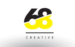 68 Black and Yellow Number Logo Design. 68 Black and Yellow Number Logo Design cut in half Stock Photo