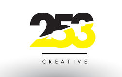 253 Black and Yellow Number Logo Design. 253 Black and Yellow Number Logo Design cut in half Stock Images