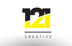 121 Black and Yellow Number Logo Design. 121 Black and Yellow Number Logo Design cut in half Royalty Free Stock Photo