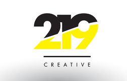219 Black and Yellow Number Logo Design. 219 Black and Yellow Number Logo Design cut in half Royalty Free Stock Photos