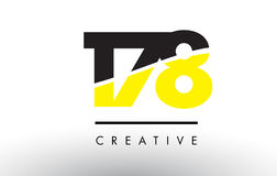 178 Black and Yellow Number Logo Design. 178 Black and Yellow Number Logo Design cut in half Stock Photography