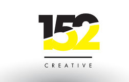 152 Black and Yellow Number Logo Design. 152 Black and Yellow Number Logo Design cut in half Stock Photos