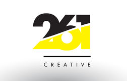 261 Black and Yellow Number Logo Design. 261 Black and Yellow Number Logo Design cut in half Royalty Free Stock Image