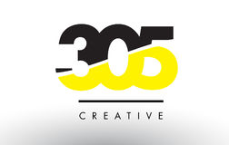 305 Black and Yellow Number Logo Design. 305 Black and Yellow Number Logo Design cut in half Royalty Free Stock Photography