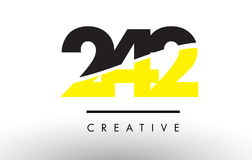 242 Black and Yellow Number Logo Design. 242 Black and Yellow Number Logo Design cut in half Royalty Free Stock Photos