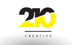 210 Black and Yellow Number Logo Design. 210 Black and Yellow Number Logo Design cut in half Stock Images