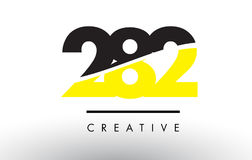 282 Black and Yellow Number Logo Design. 282 Black and Yellow Number Logo Design cut in half Royalty Free Stock Image