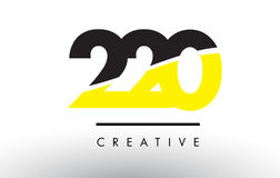 220 Black and Yellow Number Logo Design. 220 Black and Yellow Number Logo Design cut in half Royalty Free Stock Images